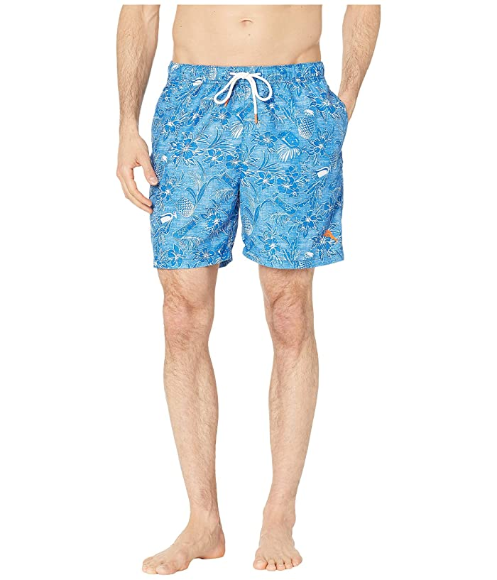 Tommy Bahama Naples Tiki Luau Swim Trunk (Madras Blue) Men