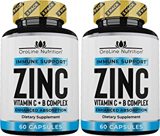 Zinc 50mg Zinc Supplements for Immune Support - [2 Pack] Vitamin C and Zinc 50 mg Supplement - Zinc Supplement for Adults - Best Zinc Capsules for Immunity Support - Immune Booster & Zinc Vitamin