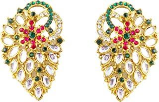 Indian Bollywood Faux Pearls Ruby Emerald Curved Designer Jewelry Studs Earrings In Antique Gold Tone