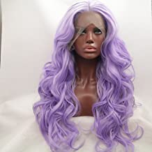Lucyhairwig Light Purple Synthetic Lace Front Wig Long Wavy Heat Resistant Replacement Wig For Women
