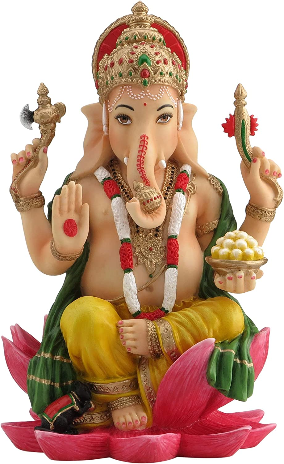 Ganesh (Ganesha) Hindu Elephant God of Success Statue, 7 1 4-inch Multi-colord