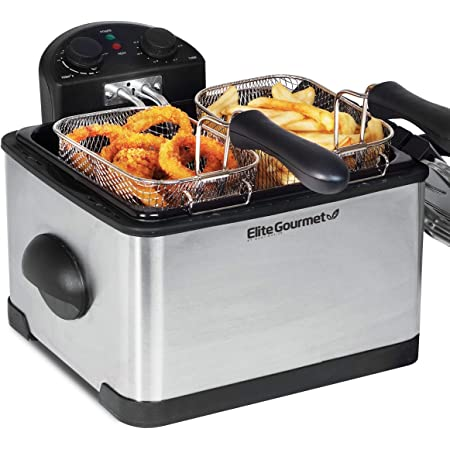 Elite Gourmet 1700-Watt Stainless-Steel Triple Basket Electric Deep Fryer with Timer and Temperature Knobs, 4.2L/17-Cup, Stainless Steel