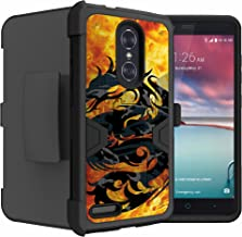 Untouchble Case for ZTE Blade X Max| Blade X Max Holster Case from Cricket [Mystic Defense] Dual [Kickstand] Case | Heavy Duty Protector Swivel Holster - Red Fire Dragon