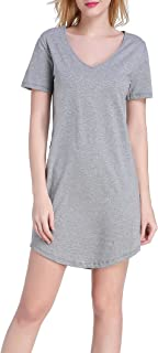 Women's Sleep Shirt V-Neck Cotton Nightgown Short Sleeve Sleepwear Nightshirts S-3X