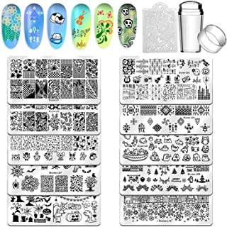 Biutee Nail Stamping Plates 10pcs Templates with stamper Nail Art Plates set Christmas halloween animal flower design