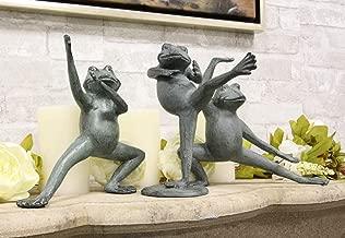 Ebros Gift Verdi Green Aluminum Metal Whimsical Tai Chi Kung Fu Frog Garden Statue Zen Feng Shui Martial Arts Frogs Home Garden Patio Pool Decorative Sculpture (Set of 3 Stances)