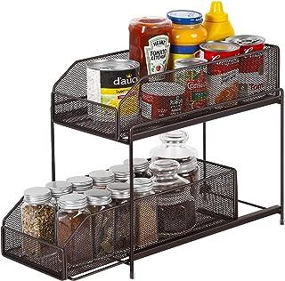 LIANTRAL Étagère de Cuisine à 2 étages coulissante, tiroir de Rangement pour Cuisine, Placard, Plan de Travail