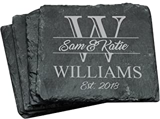 Monogrammed Set of 4 Square Slate Coasters - Engraved Wedding Couples Gift