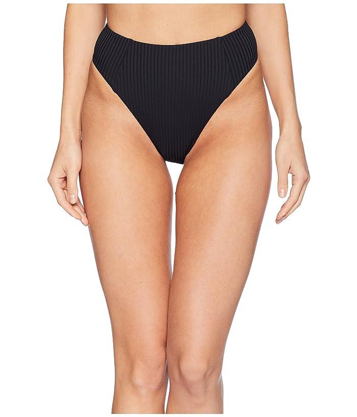 Vitamin A Swimwear Sienna High-Waisted Ribbed Bottoms (Black/Eco Rib) Women