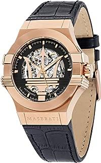 MASERATI Men's Potenza Stainless Steel Quartz Leather Strap Black 13 Casual Watch (Model: R8821108002)
