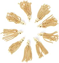 4 Pieces - 16K Gold Plated Metal Tassel Charm Tassel Earrings Supply Tassel Necklace Supply Jewelry Making Parts Jewelry Findings - 4PT (Gold)