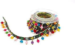 Marsha Q Multicolored Beaded Trim Boho Trim Ball Fringe Embroidered Ribbon 2 Yard (Black)