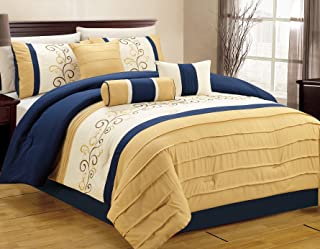 Luxlen 7 Piece Closeout Luxury Embroidery Bed in Bag Comforter Set, King, Blue/Yellow