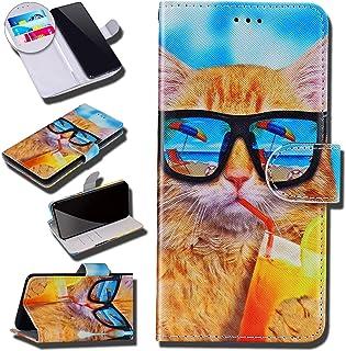 Urhause Case Compatibel met Galaxy A70 Case Glossy PU Lederen Portemonnee Cover met Kaartsleuven Cover Garfield Cartoon Po...