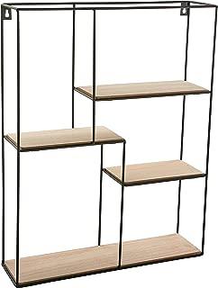 Versa 20850020 Estantería rectangular colgar pared, 40x11x50,5cm, Metal y madera