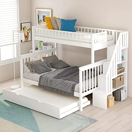 Amazon Com Twin Over Full Bunk Bed With Trundle And Stairs Weyoung Wood Stairway Twin Full Bed Frame With Storage And Safety Rails White Kitchen Dining