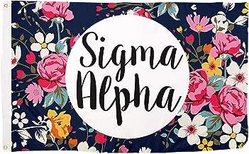 Sigma Alpha Floral Pattern Letter Sorority Flag Greek Letter Use as a Banner 3 x 5 Feet Sign Decor