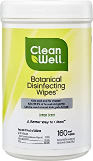 CleanWell Botanical Antibacterial Disinfecting Wipes - Lemon Scent, 160 Count - Plant-Based, Botanical, disinfects, deodorizes, Kid Friendly, no Animal Testing, Biodegradable Solution