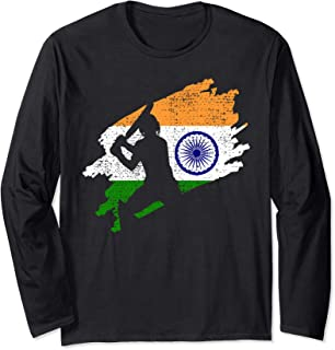 Cricket India Flag Indian Jersey Vintage Gift Long Sleeve T-Shirt