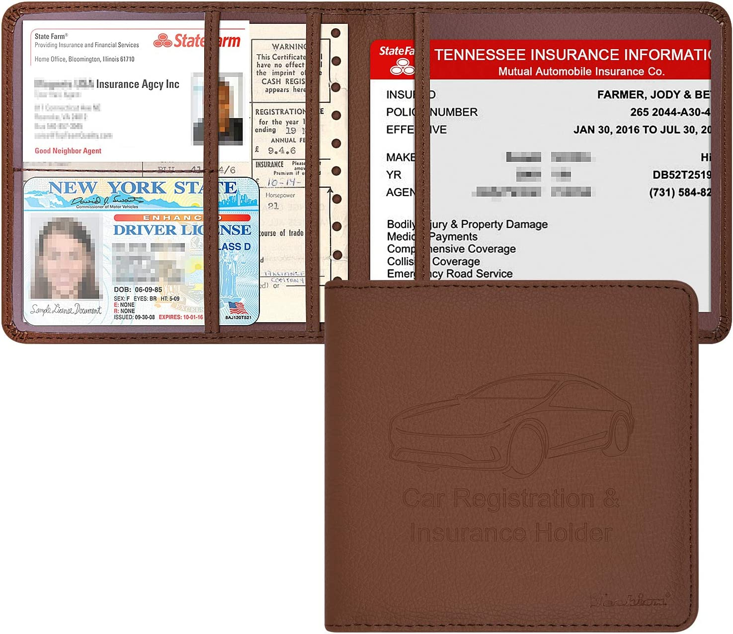 Techion Car Insurance and Registration Holder PU Special price Inch L x 5.5 Classic 5