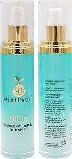 MintPear Witch Hazel Cucumber Facial Toner for Face | Balances Skin pH Level - Anti Aging Hydrosol | Hydrating Primer | 3.3 OZ