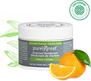 Natural Deodorant with Activated Charcoal | For Men & Women | Long-Lasting, EWG Verified, Vegan, Aluminum Free, Cruelty-Free, No Aluminum, No Parabens, BPA Free | Citrus Scent by Purelygreat