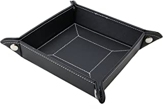Decorebay Easy Pocket Dump Foldable Travel Leather Valet Tray (Black)