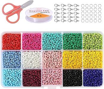 CJCXCuentas de Cristal para Los niños DIY Pulseras Collares y Joyería-Making, 3mm Mini Regalo Cadena Cadena de Cuentas de Fabricación de Juego(15 Colores)