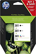 HP E5Y87EE 301 Original Ink Cartridge, Black and Tri-Colour, Pack of 3