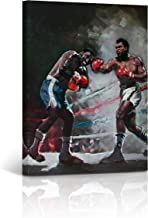 Buy4Wall Muhammad Ali vs Joe Frazier Oil Painting Canvas Print Colorful Work Decorative Inspirational Wall Art Home Decor Artwork Stretched - Framed Ready to Hang -%100 Handmade in The USA 28x19