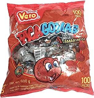 Dulces Vero Vero Pica Tamarindo Chili Tamarind Flavor Gummy Mexican Candy,100 Pieces,1 LB,5.15 OZ