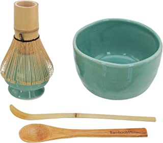 BambooMN Brand - Matcha Bowl Set (Includes Bowl, Rest,Tea Whisk, Chasaku, Tea Spoon) 1 Set Green