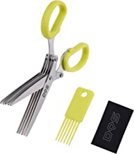 Herb Scissors - 5 Sharp Blades - Diamond Shield Package - Cuts, Slices and Chops Herbs 5x Faster - Ideal Time-Saving Kitchen Essential - Cleaning Rake Included - Stainless Steel - Dishwasher Safe