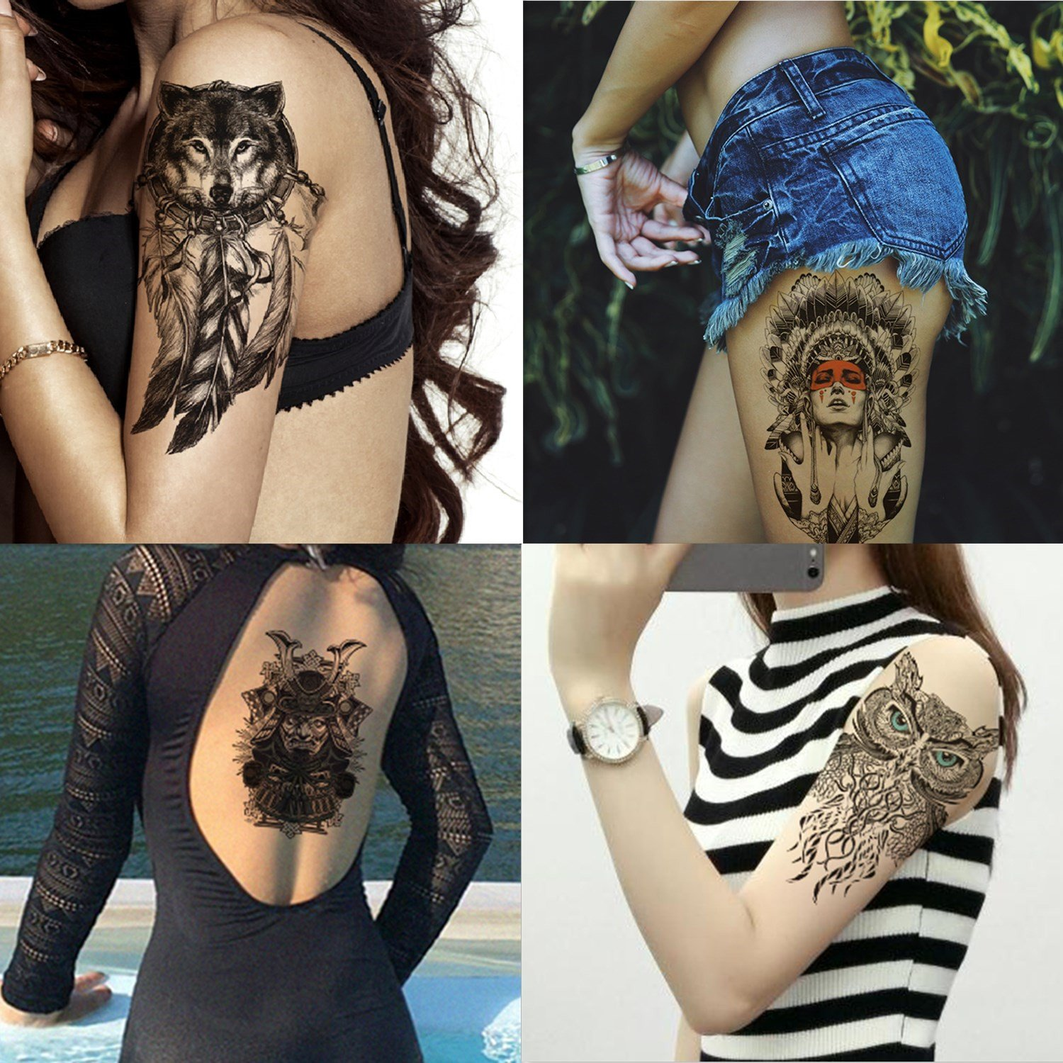 Dalin 4 Sheets Temporary Tattoos Sled Tat Dog Fake Owl 70% OFF Outlet Max 86% OFF Indian