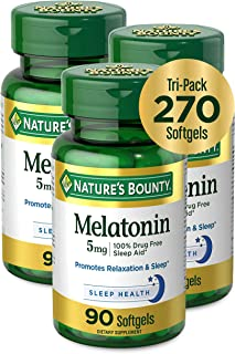 Melatonin by Nature's Bounty, 100% Drug Free Sleep Aid, Dietary Supplement, Promotes Relaxation and Sleep Health, 5mg, 90 ...