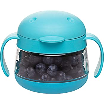 Ubbi Tweat No Spill Snack Container for Kids, BPA-Free, Toddler Snack Catcher, Blue