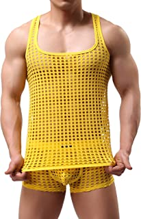 Mendove Men's Mesh See Through Muscle Fishnet Tank Top Underwear