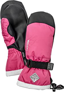 Hestra Ski Mittens for Kids: Waterproof C-Zone Cold Weather Winter Gloves, Fuchsia/Ivory, 7