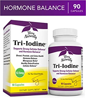 Terry Naturally Tri-Iodine 12.5 mg - 12500 mcg Iodine, 90 Vegan Capsules - Supports Hormone Balance, Promotes Breast & Prostate Health - Non-GMO, Gluten-Free, Kosher - 90 Servings