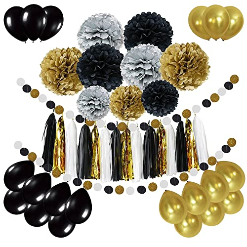 Black And Gold Wedding Decorations: Black And Gold Party Decor: Amazon.com