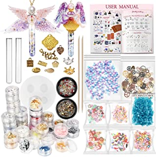 Funshowcase Resin Art Magic Potion Tube and Stopper Epoxy Shaker Silicone Mold Jewelry Casting Kit Set of 78 Supplies Glitter Confetti Crystal Glass Beads Gold Foil Inlay Steampunk Style Charms