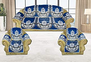 Luxury Crafts Pollycotton Sofa and Chair Cover Set with arms Cover (Set of 12 Pieces,) (Blue)