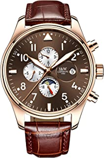Men Pilot Automatic Mechanical Silver Steel Case Sapphire Glass Blue Dial Day Week 24/Hours Watches