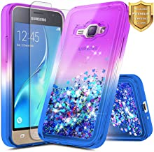 Galaxy Luna Case, Express 3, Galaxy Amp 2 w/ [Tempered Glass Screen Protector], NageBee Glitter Quicksand Liquid Flowing Shiny Sparkle Bling Cute Case for Samsung Galaxy J1 2016 (J120) -Purple/Blue