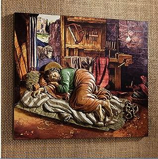 Beautiful Sleeping St. Joseph Plaque. A totally Unique Presentation of The Sleeping Saint Joseph by Michael Adams. Boxed