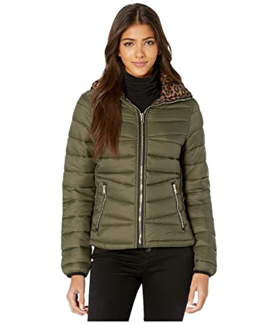 YMI Snobbish Reversible Packable Puffer Leopard Jacket (Olive/Leopard) Women