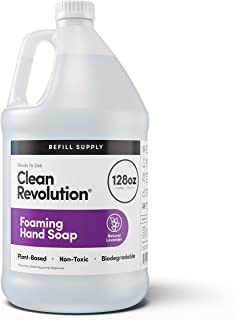 Clean Revolution Foaming Hand Soap Refill Supply Container. Ready to Use Formula. Natural Lavender Fragrance, 128 Fl. Oz