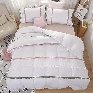 Bridal White Duvet Cover Ball Fringe Cotton Decoration Cute Bedding Set Chic Bohemian Frills Washed Edredon Soft Design Pompom Triple Vivid Home Decor Pillows Shams Cases,White,Queen