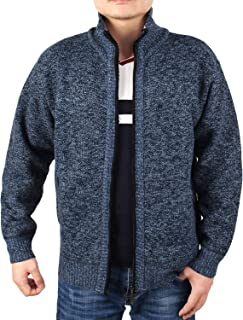 INIBUD Men's Cardigan Sweaters, Casual Slim Fit Stand Collar Full Zip Thick Knitted Sweaters for Men