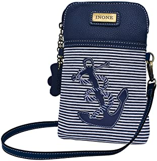 Anchor Crossbody Bag Nautical iPhone Cell Phone Purse Bag PU Leather Canvas Handbag for Smartphone Credit Card Passport Keys